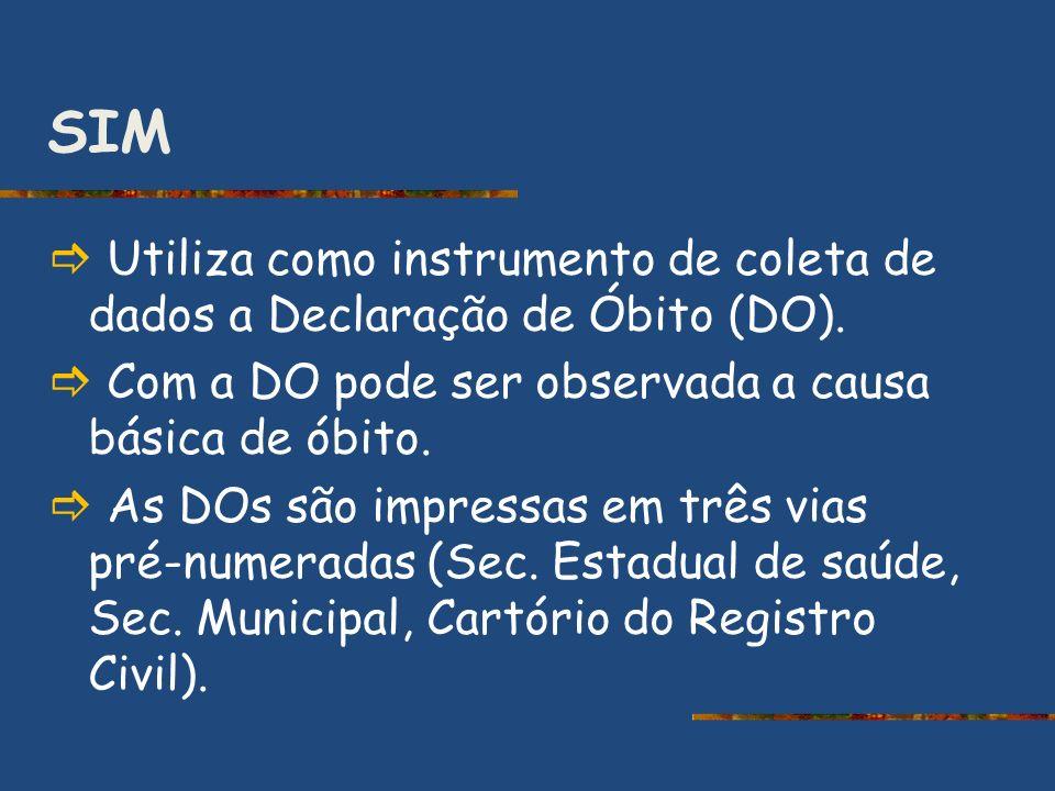 SIM Utiliza como instrumento de coleta de dados a Declaração de Óbito (DO). Com a DO pode ser observada a causa básica de óbito. As DOs são impressas