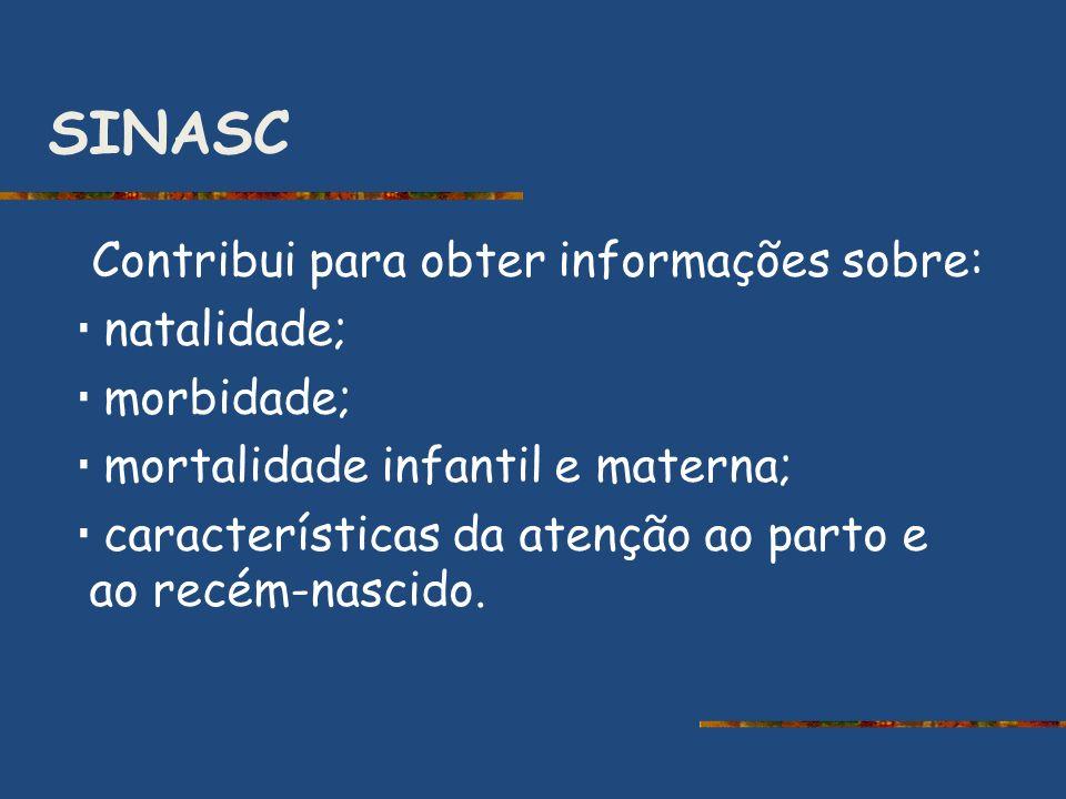 SINASC Contribui para obter informações sobre: natalidade; morbidade; mortalidade infantil e materna; características da atenção ao parto e ao recém-n