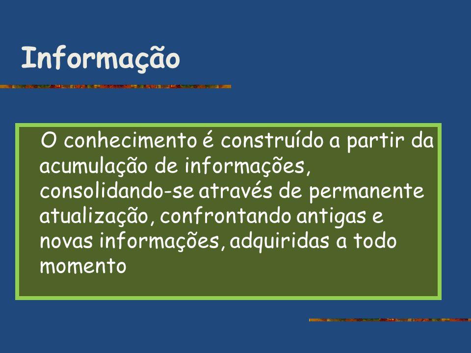 Informação O conhecimento é construído a partir da acumulação de informações, consolidando-se através de permanente atualização, confrontando antigas