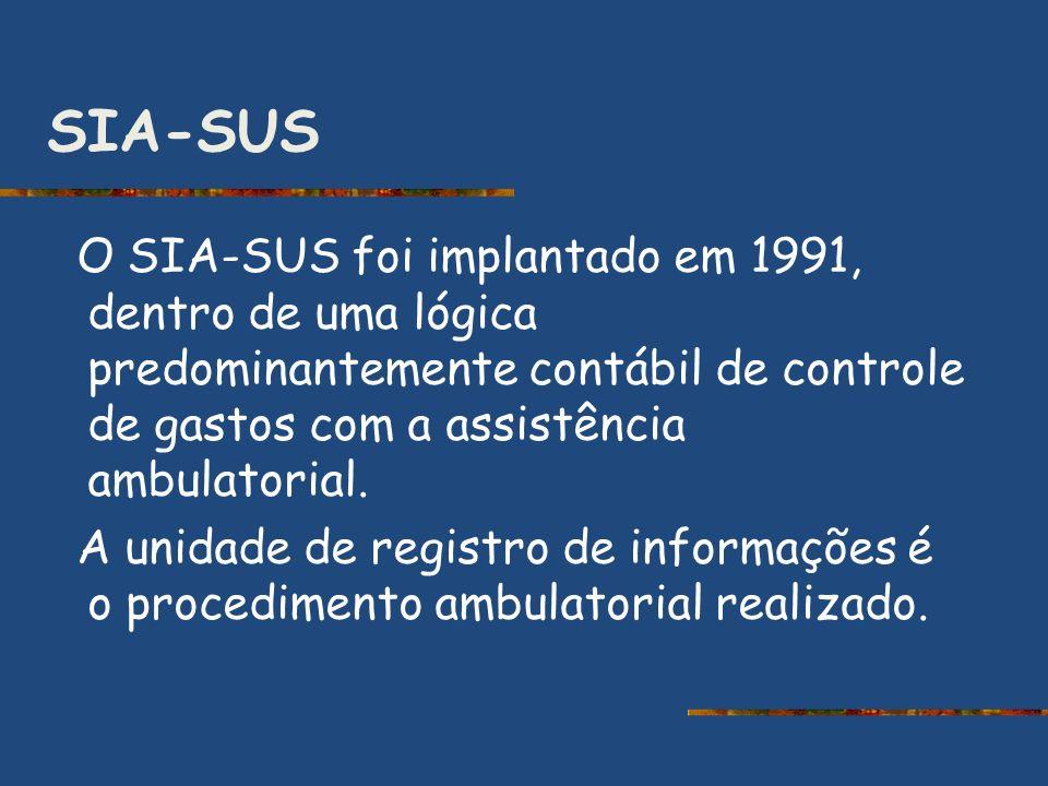 SIA-SUS O SIA-SUS foi implantado em 1991, dentro de uma lógica predominantemente contábil de controle de gastos com a assistência ambulatorial. A unid
