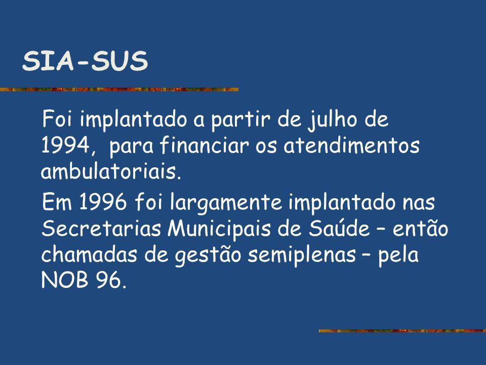 SIA-SUS Foi implantado a partir de julho de 1994, para financiar os atendimentos ambulatoriais. Em 1996 foi largamente implantado nas Secretarias Muni