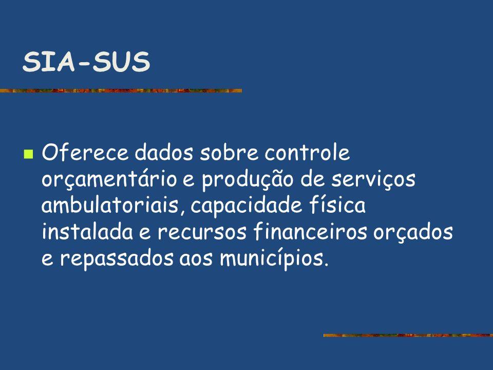 SIA-SUS Oferece dados sobre controle orçamentário e produção de serviços ambulatoriais, capacidade física instalada e recursos financeiros orçados e r