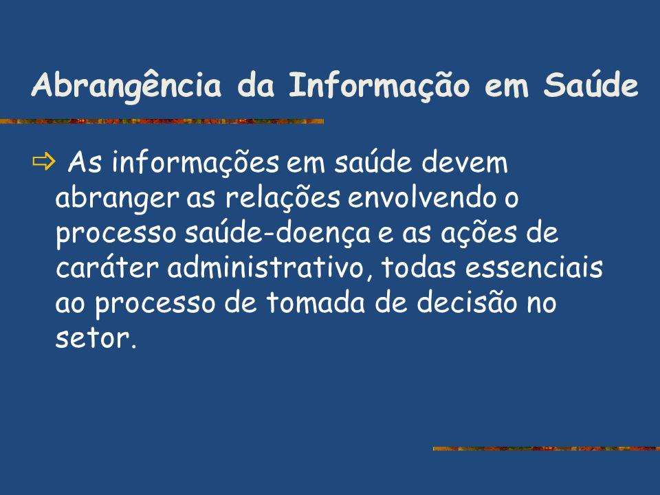 Abrangência da Informação em Saúde As informações em saúde devem abranger as relações envolvendo o processo saúde-doença e as ações de caráter adminis