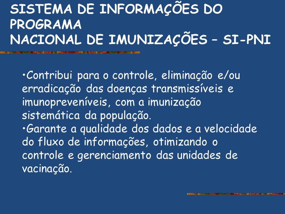 SISTEMA DE INFORMAÇÕES DO PROGRAMA NACIONAL DE IMUNIZAÇÕES – SI-PNI Contribui para o controle, eliminação e/ou erradicação das doenças transmissíveis