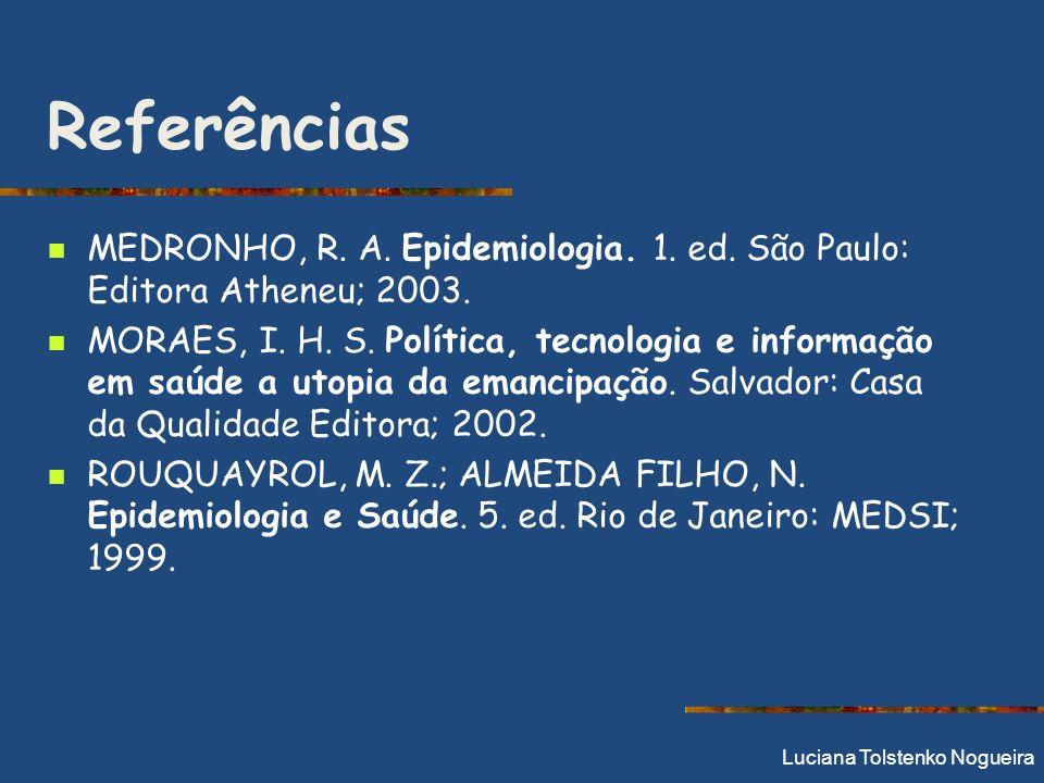 Referências MEDRONHO, R. A. Epidemiologia. 1. ed. São Paulo: Editora Atheneu; 2003. MORAES, I. H. S. Política, tecnologia e informação em saúde a utop