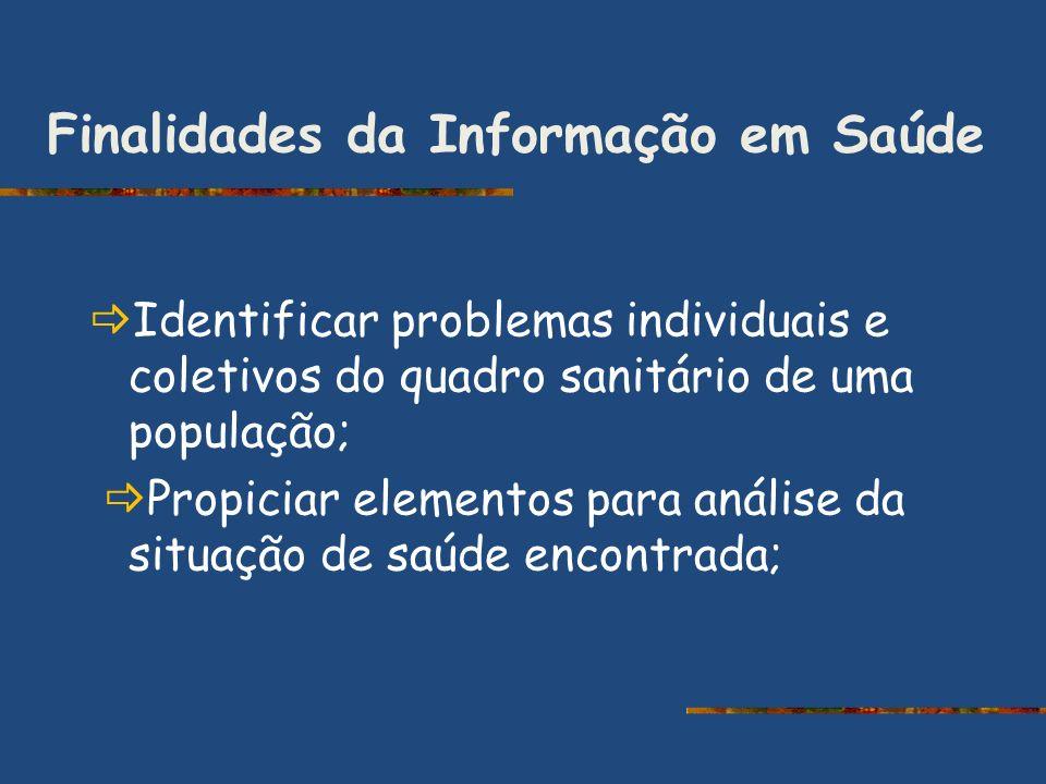 Finalidades da Informação em Saúde Identificar problemas individuais e coletivos do quadro sanitário de uma população; Propiciar elementos para anális