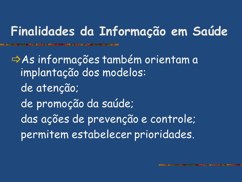 Finalidades da Informação em Saúde As informações também orientam a implantação dos modelos: de atenção; de promoção da saúde; das ações de prevenção