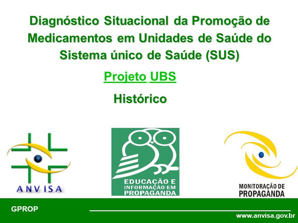 www.anvisa.gov.br GPROP Diagnóstico Situacional da Promoção de Medicamentos em Unidades de Saúde do Sistema único de Saúde (SUS) Brasília, 22 de abril de 2006 Projeto UBSHistórico