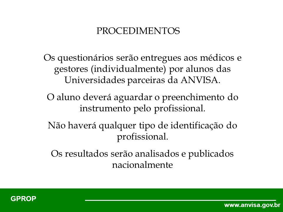 www.anvisa.gov.br GPROP Os questionários serão entregues aos médicos e gestores (individualmente) por alunos das Universidades parceiras da ANVISA.