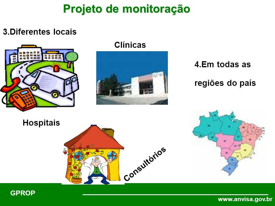 www.anvisa.gov.br GPROP Projeto de monitoração 3.Diferentes locais Hospitais Consultórios Clínicas 4.Em todas as regiões do país