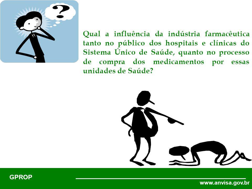 www.anvisa.gov.br GPROP Qual a influência da indústria farmacêutica tanto no público dos hospitais e clínicas do Sistema Único de Saúde, quanto no processo de compra dos medicamentos por essas unidades de Saúde?