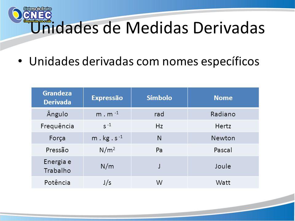 Unidades de Medidas Derivadas Unidades derivadas com nomes específicos Grandeza Derivada ExpressãoSímboloNome Ângulom.