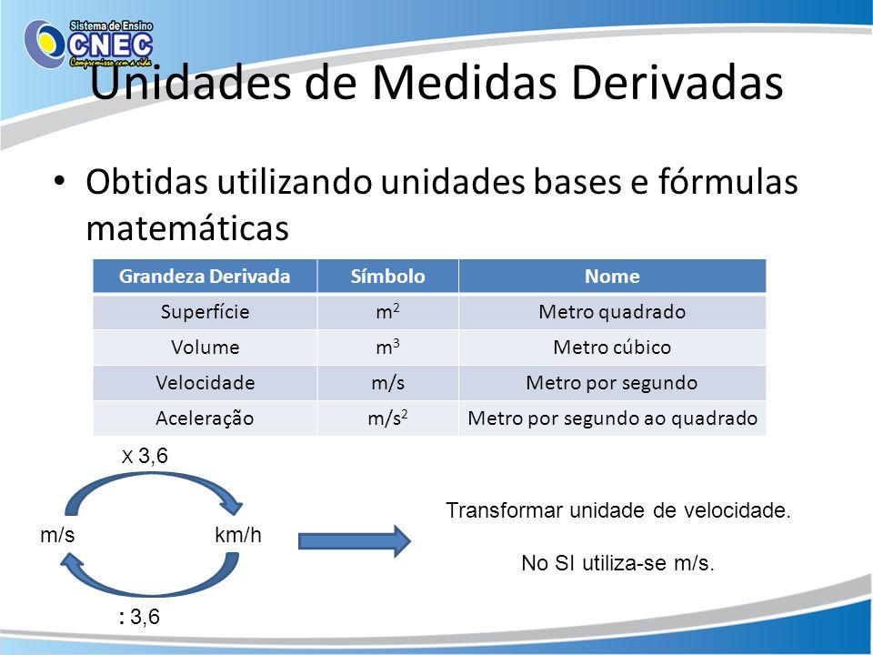 Unidades de Medidas Derivadas Obtidas utilizando unidades bases e fórmulas matemáticas Grandeza DerivadaSímboloNome Superfíciem2m2 Metro quadrado Volumem3m3 Metro cúbico Velocidadem/sMetro por segundo Aceleraçãom/s 2 Metro por segundo ao quadrado m/skm/h X 3,6 : 3,6 Transformar unidade de velocidade.