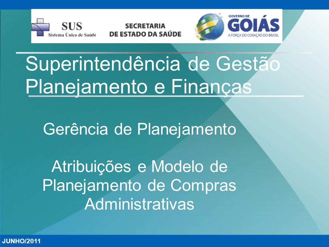 Superintendência de Gestão Planejamento e Finanças Gerência de Planejamento Atribuições e Modelo de Planejamento de Compras Administrativas JUNHO/2011