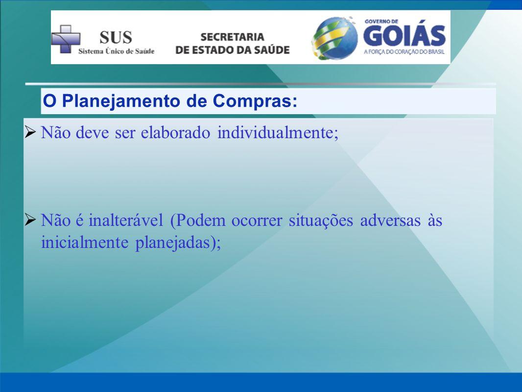 O Planejamento de Compras: Não deve ser elaborado individualmente; Não é inalterável (Podem ocorrer situações adversas às inicialmente planejadas);