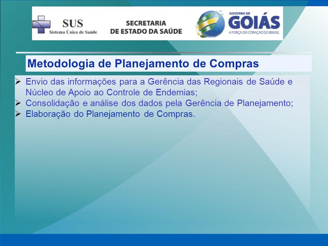 Metodologia de Planejamento de Compras Envio das informações para a Gerência das Regionais de Saúde e Núcleo de Apoio ao Controle de Endemias; Consoli