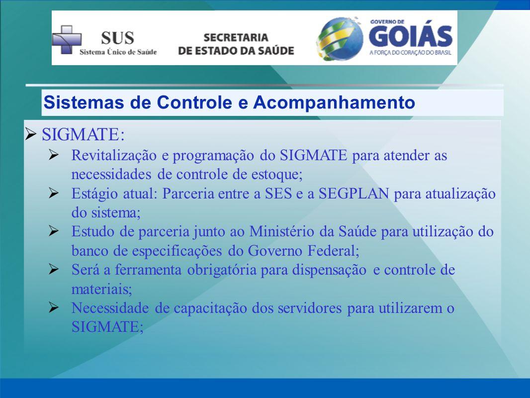 Sistemas de Controle e Acompanhamento SIGMATE: Revitalização e programação do SIGMATE para atender as necessidades de controle de estoque; Estágio atu