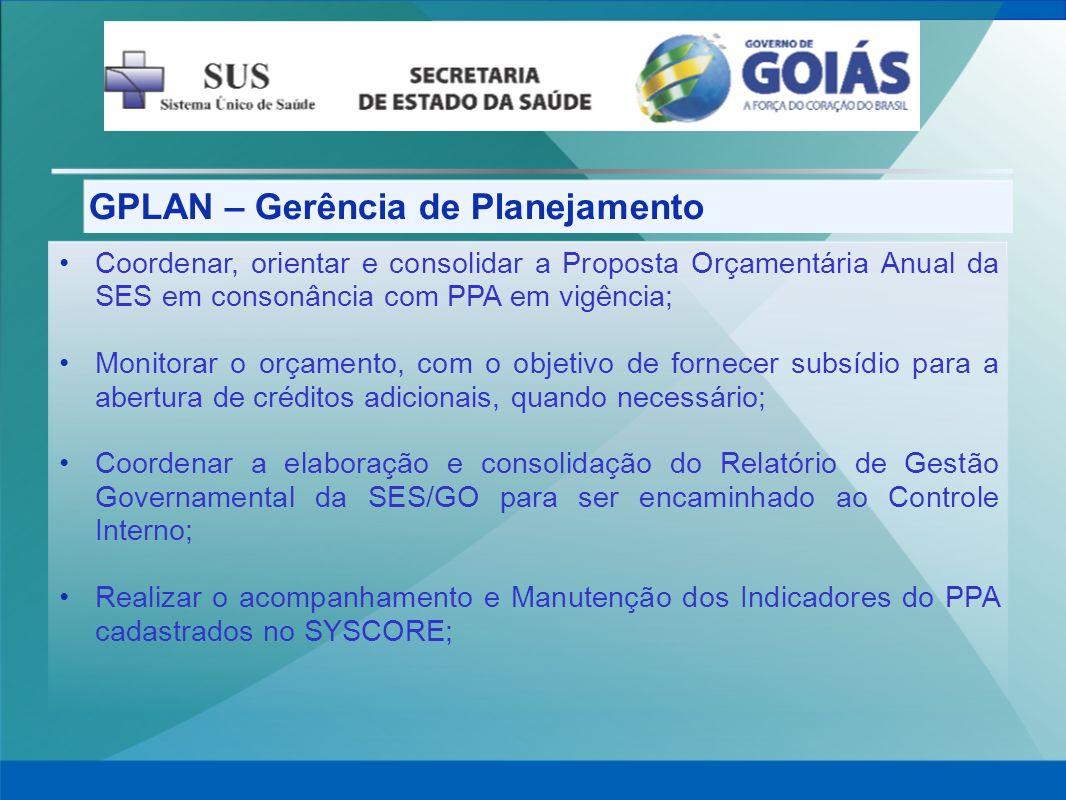 GPLAN – Gerência de Planejamento Coordenar, orientar e consolidar a Proposta Orçamentária Anual da SES em consonância com PPA em vigência; Monitorar o