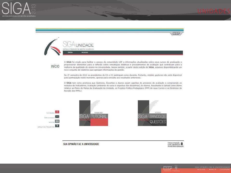 Acesse o Portal SIGA, acesse o SIGA Unidades e com o perfil de Gerente de Projeto Piloto utilize a opção de Gestores no menu principal.