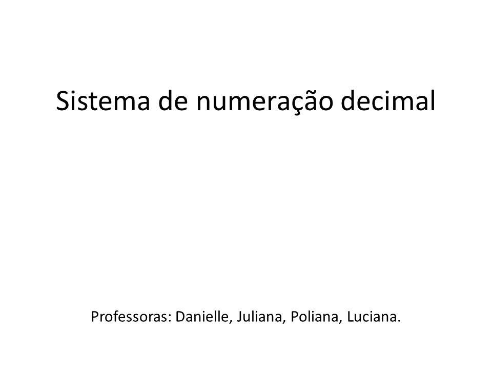 Sistema de numeração decimal Professoras: Danielle, Juliana, Poliana, Luciana.