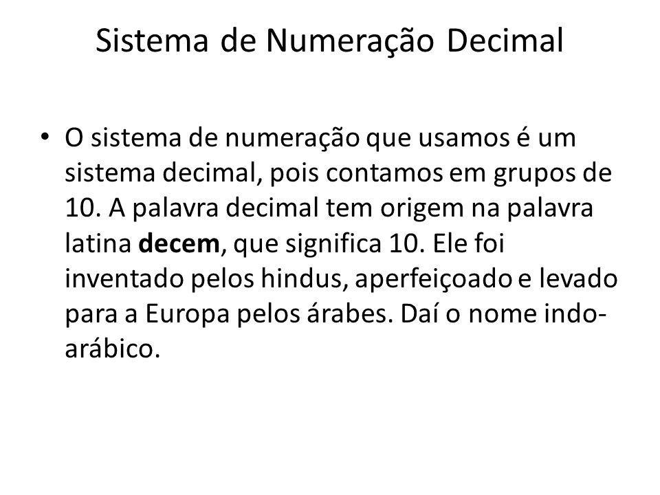 Sistema de Numeração Decimal O sistema de numeração que usamos é um sistema decimal, pois contamos em grupos de 10. A palavra decimal tem origem na pa