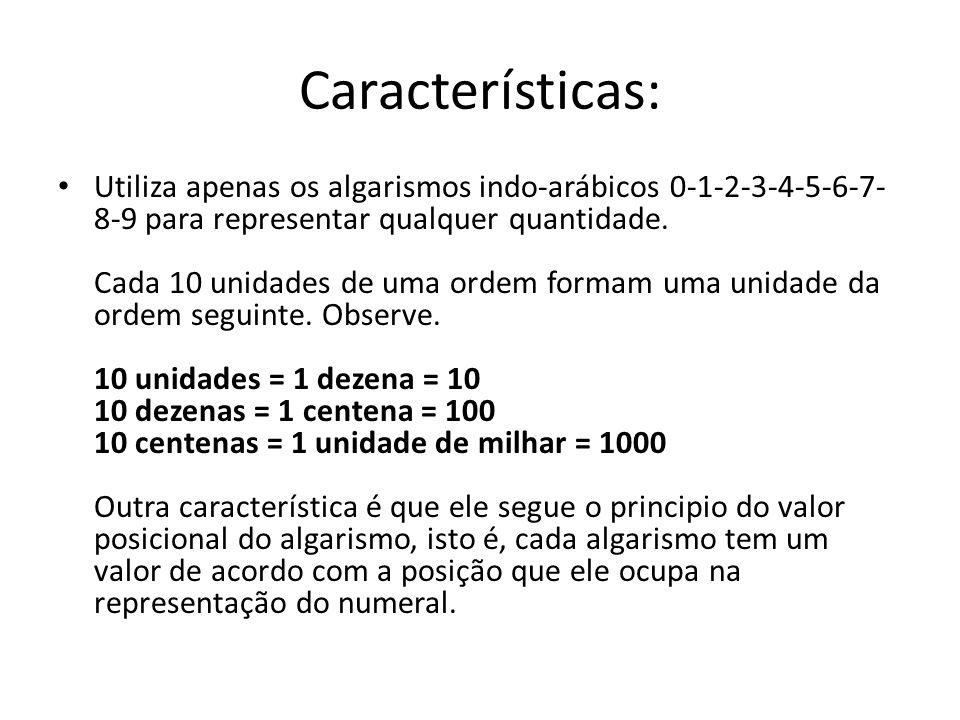 Características: Utiliza apenas os algarismos indo-arábicos 0-1-2-3-4-5-6-7- 8-9 para representar qualquer quantidade. Cada 10 unidades de uma ordem f