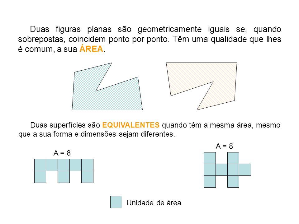 Duas figuras planas são geometricamente iguais se, quando sobrepostas, coincidem ponto por ponto.