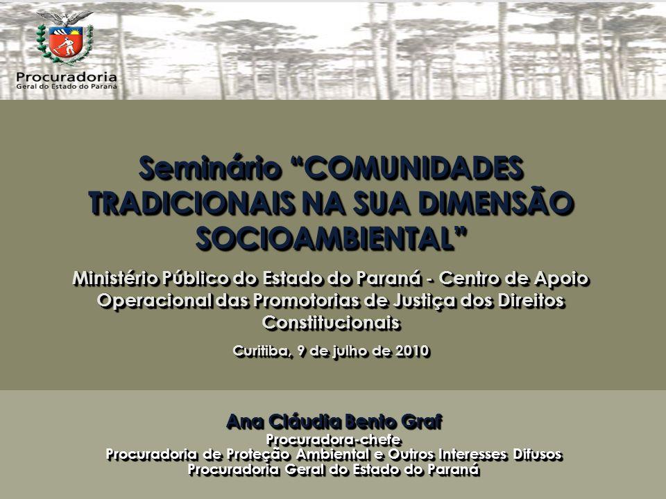 Seminário COMUNIDADES TRADICIONAIS NA SUA DIMENSÃO SOCIOAMBIENTAL Ministério Público do Estado do Paraná - Centro de Apoio Operacional das Promotorias de Justiça dos Direitos Constitucionais Curitiba, 9 de julho de 2010 Seminário COMUNIDADES TRADICIONAIS NA SUA DIMENSÃO SOCIOAMBIENTAL Ministério Público do Estado do Paraná - Centro de Apoio Operacional das Promotorias de Justiça dos Direitos Constitucionais Curitiba, 9 de julho de 2010 Ana Cláudia Bento Graf Procuradora-chefe Procuradoria de Proteção Ambiental e Outros Interesses Difusos Procuradoria Geral do Estado do Paraná Ana Cláudia Bento Graf Procuradora-chefe Procuradoria de Proteção Ambiental e Outros Interesses Difusos Procuradoria Geral do Estado do Paraná