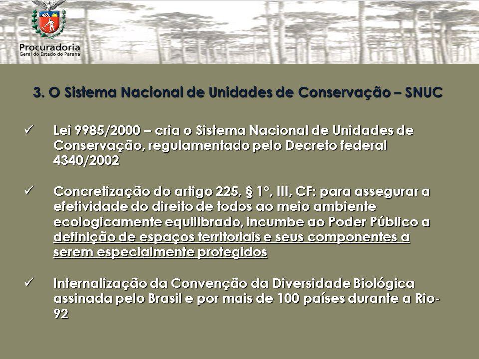 3. O Sistema Nacional de Unidades de Conservação – SNUC Lei 9985/2000 – cria o Sistema Nacional de Unidades de Conservação, regulamentado pelo Decreto