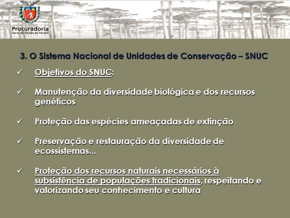 3. O Sistema Nacional de Unidades de Conservação – SNUC Objetivos do SNUC: Objetivos do SNUC: Manutenção da diversidade biológica e dos recursos genét