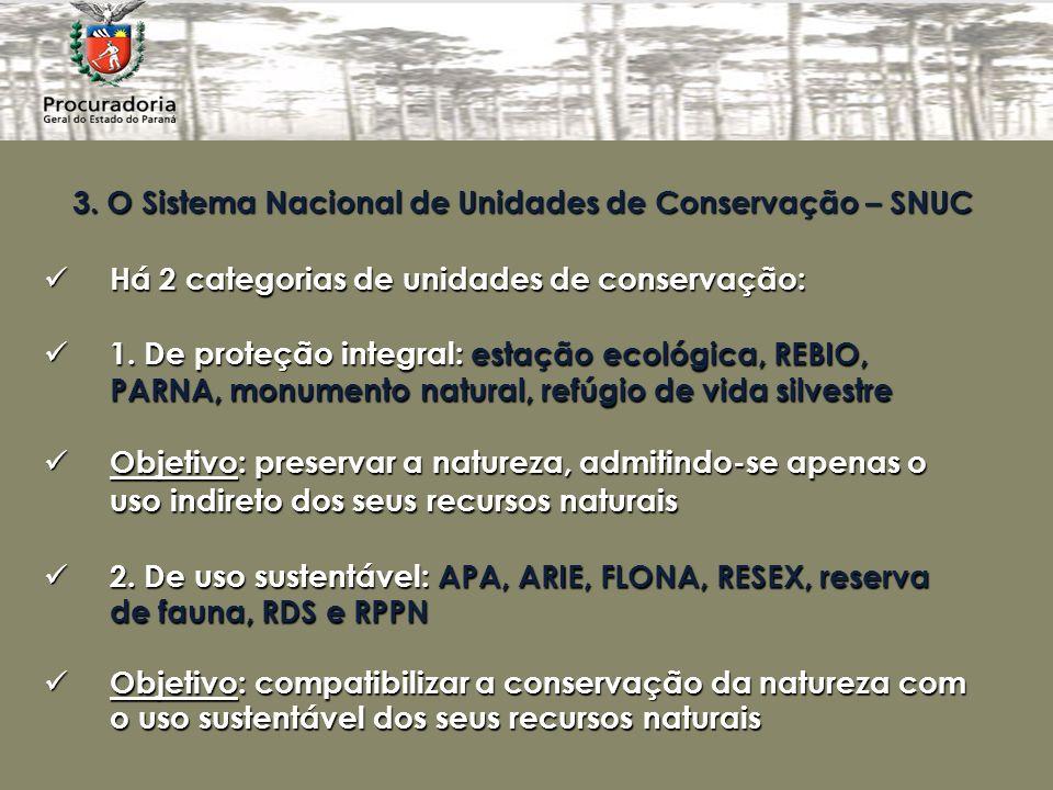 3. O Sistema Nacional de Unidades de Conservação – SNUC Há 2 categorias de unidades de conservação: Há 2 categorias de unidades de conservação: 1. De