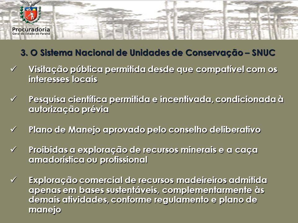 3. O Sistema Nacional de Unidades de Conservação – SNUC Visitação pública permitida desde que compatível com os interesses locais Visitação pública pe