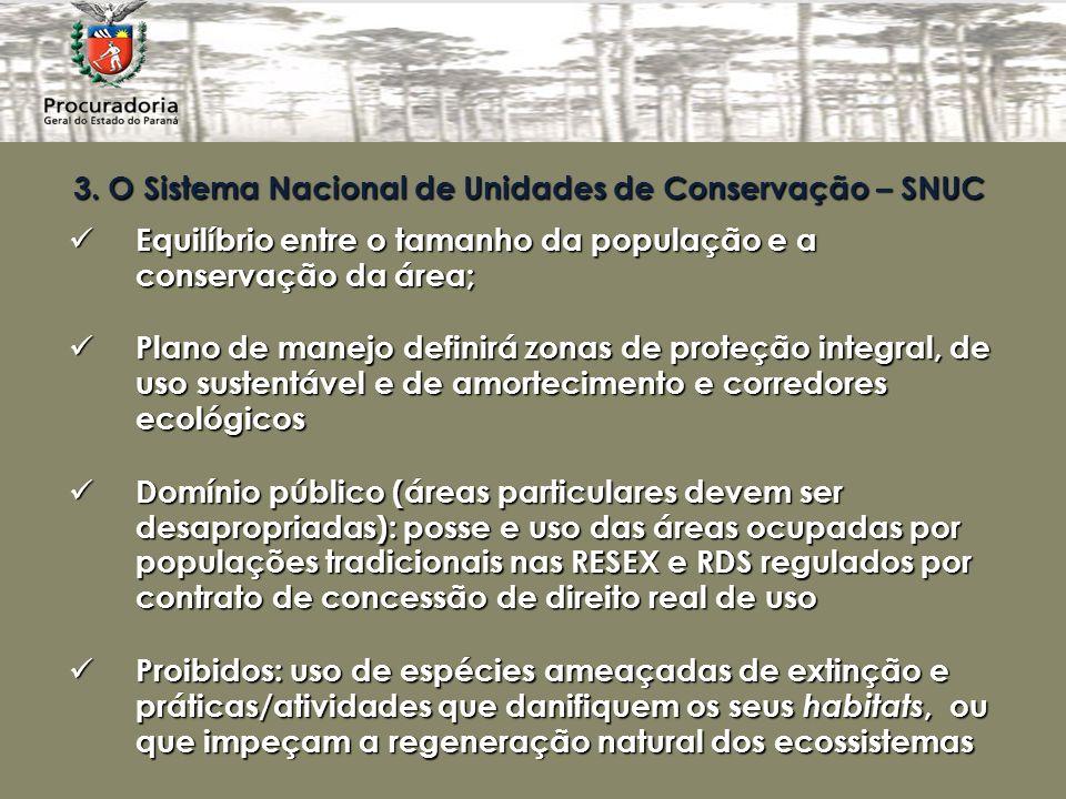3. O Sistema Nacional de Unidades de Conservação – SNUC Equilíbrio entre o tamanho da população e a conservação da área; Equilíbrio entre o tamanho da