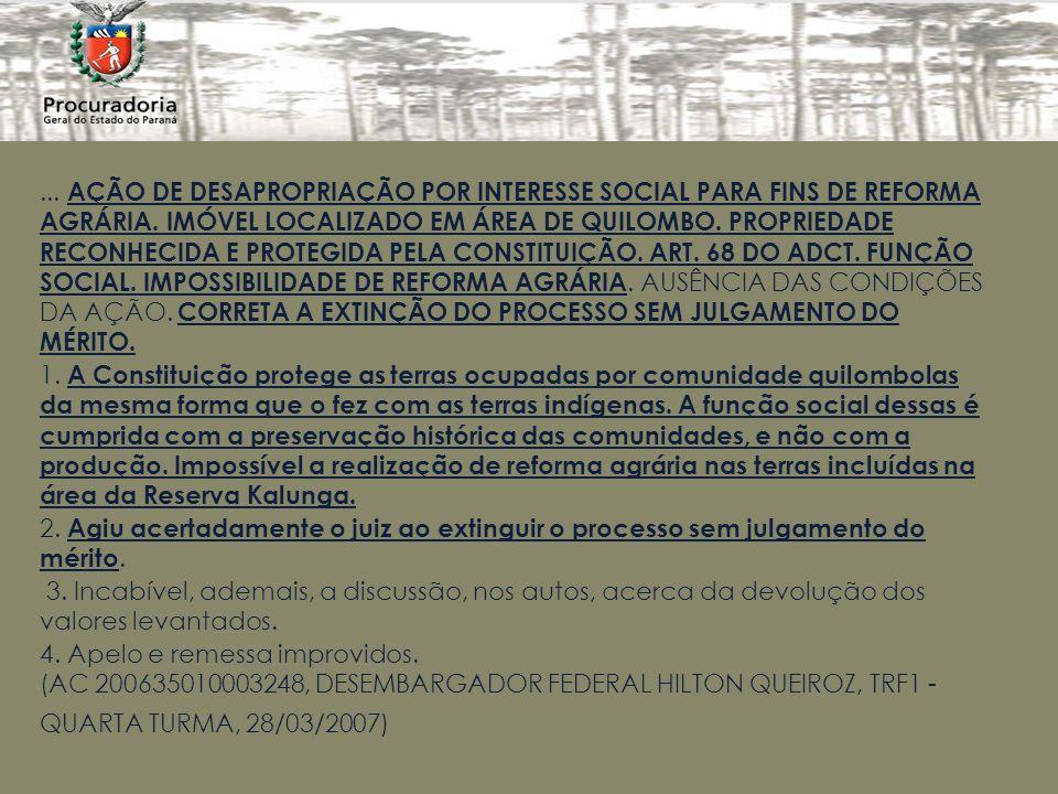 ...AÇÃO DE DESAPROPRIAÇÃO POR INTERESSE SOCIAL PARA FINS DE REFORMA AGRÁRIA.