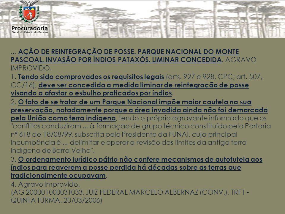 ...AÇÃO DE REINTEGRAÇÃO DE POSSE. PARQUE NACIONAL DO MONTE PASCOAL.