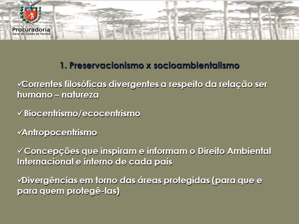 1. Preservacionismo x socioambientalismo Correntes filosóficas divergentes a respeito da relação ser humano – natureza Correntes filosóficas divergent