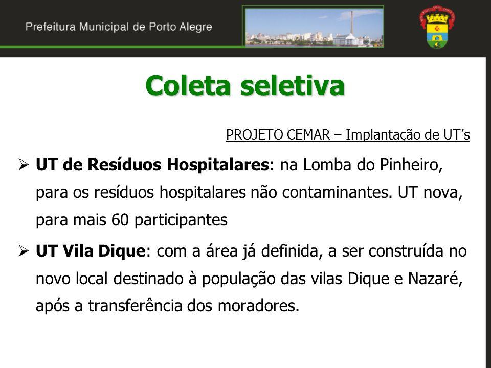 Coleta seletiva PROJETO CEMAR – Implantação de UTs UT de Resíduos Hospitalares: na Lomba do Pinheiro, para os resíduos hospitalares não contaminantes.