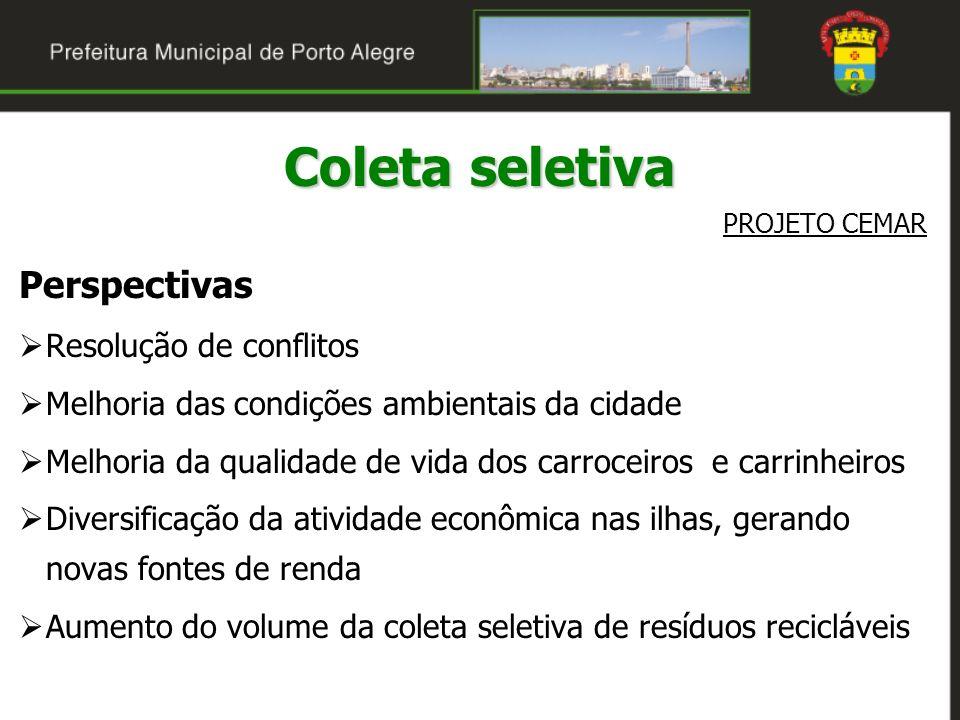 Coleta seletiva PROJETO CEMAR Perspectivas Resolução de conflitos Melhoria das condições ambientais da cidade Melhoria da qualidade de vida dos carroc