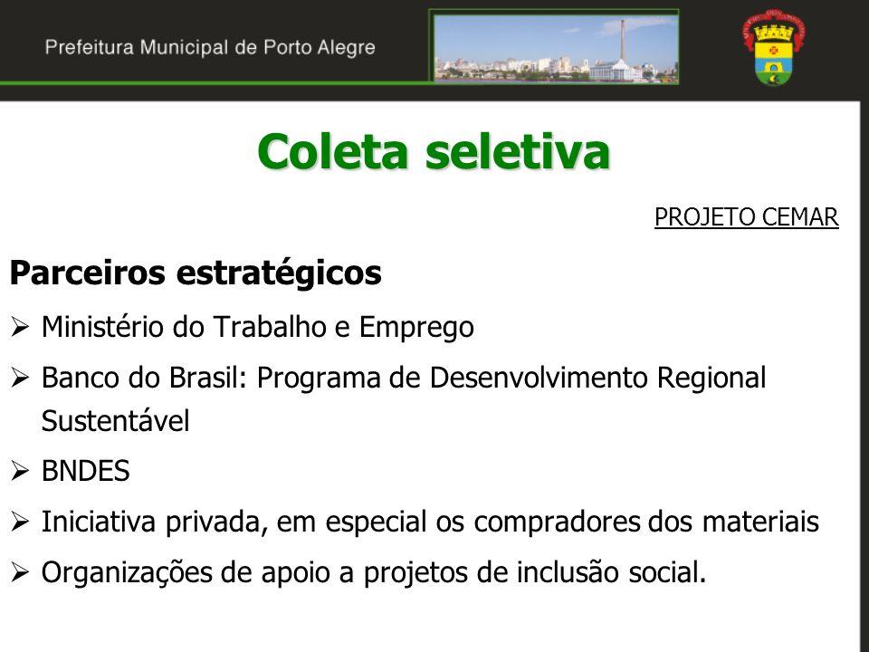 Coleta seletiva PROJETO CEMAR Parceiros estratégicos Ministério do Trabalho e Emprego Banco do Brasil: Programa de Desenvolvimento Regional Sustentáve