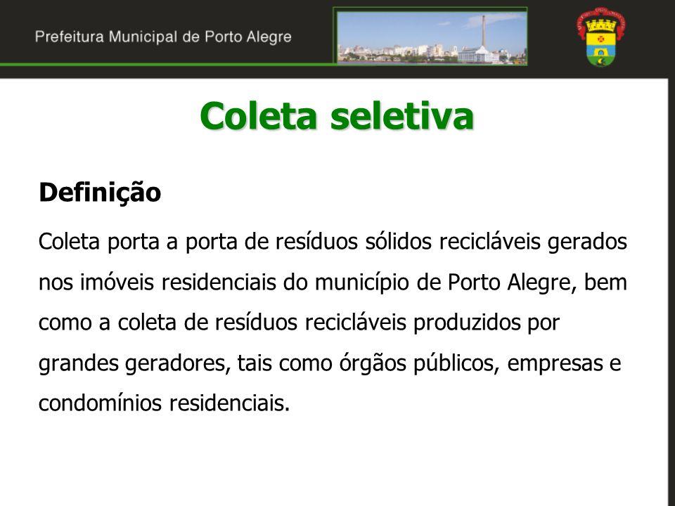 Definição Coleta porta a porta de resíduos sólidos recicláveis gerados nos imóveis residenciais do município de Porto Alegre, bem como a coleta de res