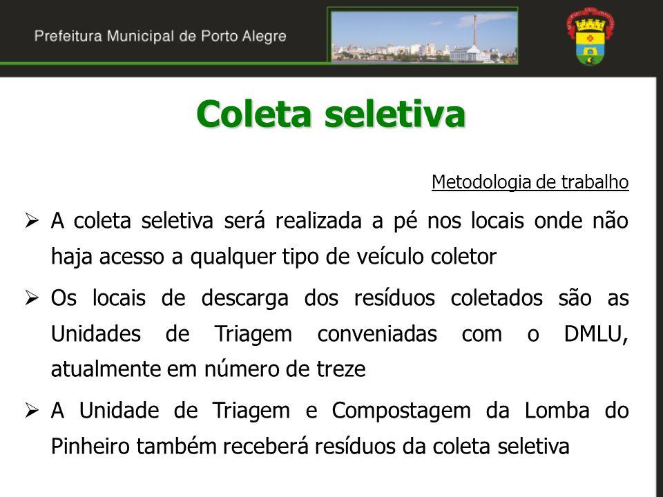 Coleta seletiva Metodologia de trabalho A coleta seletiva será realizada a pé nos locais onde não haja acesso a qualquer tipo de veículo coletor Os lo