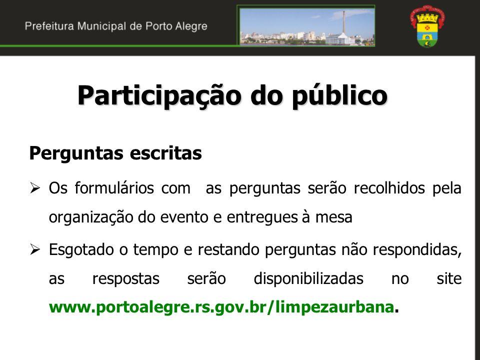 Perguntas orais Por ordem de inscrição do interessado Tempo de 2 minutos para a pergunta Nova pergunta, nova inscrição As perguntas deverão versar exclusivamente sobre o objeto desta audiência pública.
