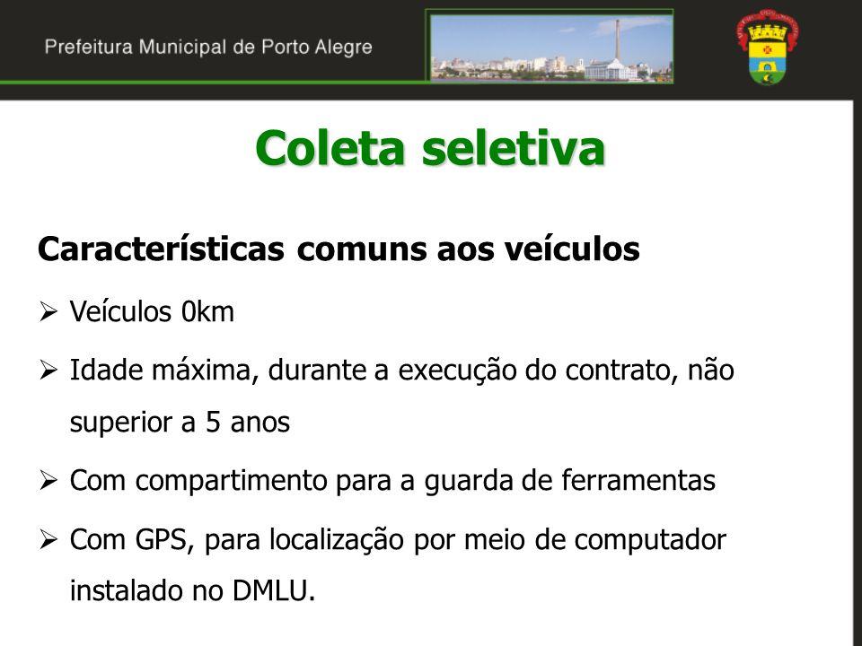 Coleta seletiva Características comuns aos veículos Veículos 0km Idade máxima, durante a execução do contrato, não superior a 5 anos Com compartimento