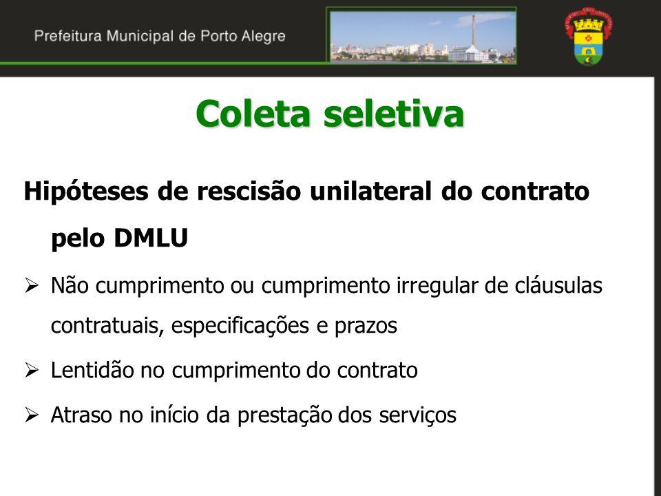 Coleta seletiva Hipóteses de rescisão unilateral do contrato pelo DMLU Não cumprimento ou cumprimento irregular de cláusulas contratuais, especificaçõ