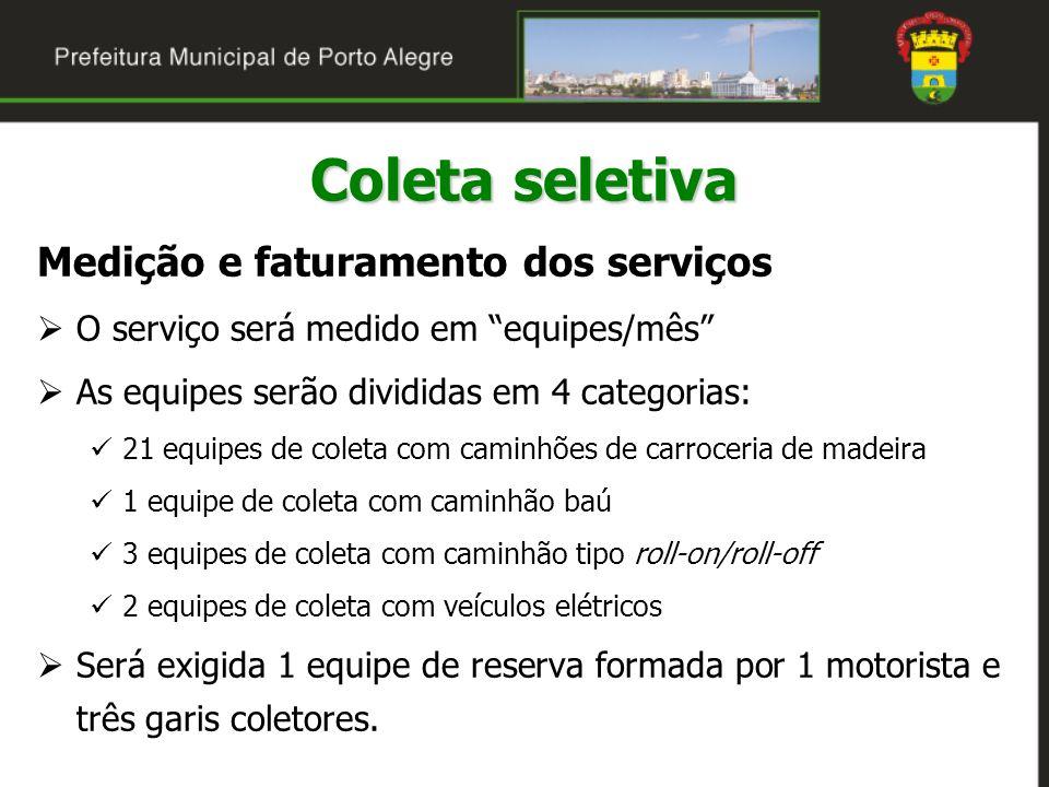 Medição e faturamento dos serviços O serviço será medido em equipes/mês As equipes serão divididas em 4 categorias: 21 equipes de coleta com caminhões