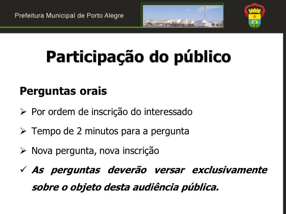 Perguntas orais Por ordem de inscrição do interessado Tempo de 2 minutos para a pergunta Nova pergunta, nova inscrição As perguntas deverão versar exc