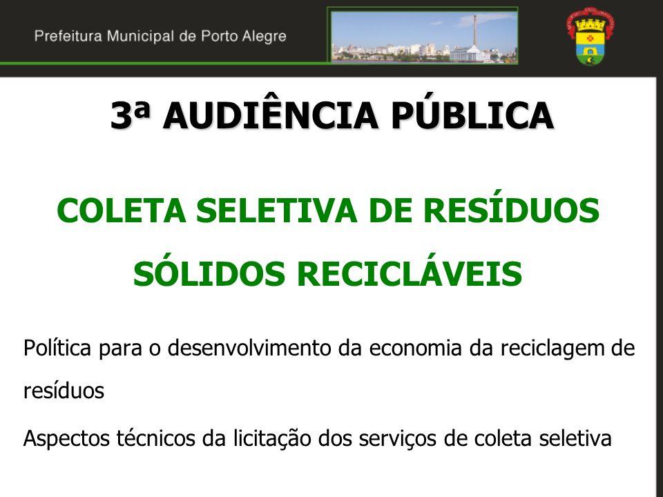 3ª AUDIÊNCIA PÚBLICA COLETA SELETIVA DE RESÍDUOS SÓLIDOS RECICLÁVEIS Política para o desenvolvimento da economia da reciclagem de resíduos Aspectos té