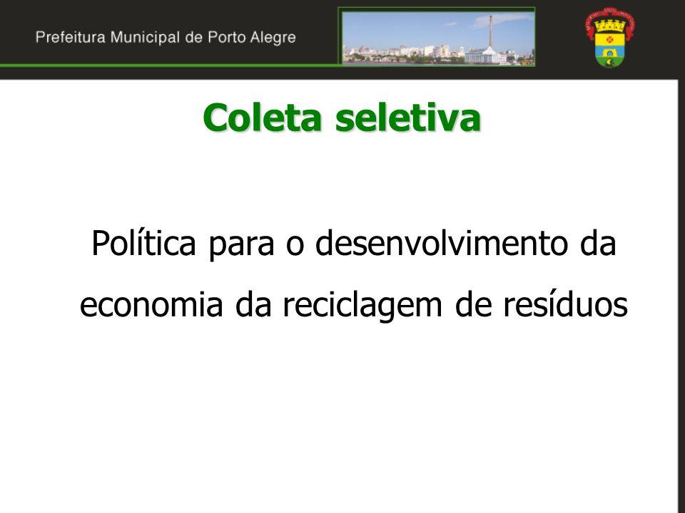 Diretrizes do DMLU para a coleta seletiva A competência para a gestão, a prestação do serviço e a fiscalização da contratada é do DMLU O aumento da eficiência na execução do serviço, com a melhoria da coleta no centro de Porto Alegre A ampliação da freqüência de coleta (2 vezes/semana) A conteinerização da coleta nos grandes geradores de resíduos sólidos recicláveis Coleta seletiva