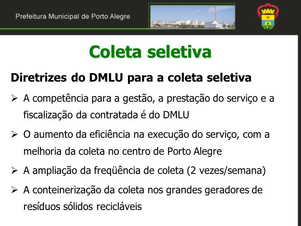 Diretrizes do DMLU para a coleta seletiva A competência para a gestão, a prestação do serviço e a fiscalização da contratada é do DMLU O aumento da ef