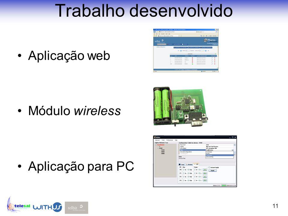 11 Aplicação web Módulo wireless Aplicação para PC Trabalho desenvolvido